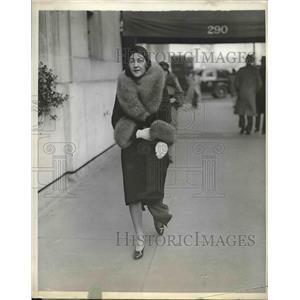 1930 Press Photo Mrs. Jean Sloper Strolls Down Park Avenue in New York