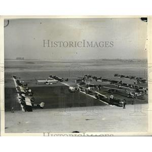 1932 Press Photo 56 Planes Line Up at LA Airport National Air Derby