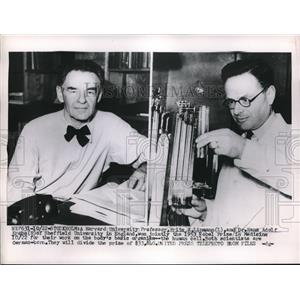 1953 Press Photo Harvard Univ Prof Eritz Lipmann & Dr Hans Adolf Krebs