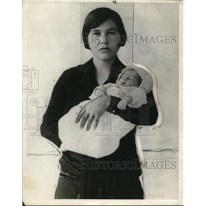 1927 Press Photo Dora Carlton with Son, Choctaw Indians
