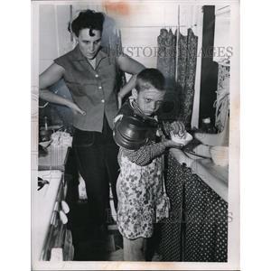 1955 Press Photo Mrs. Floyd Hrivnak with son George