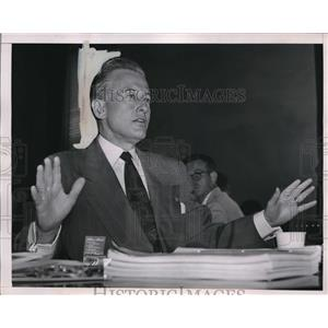 1951 Press Photo Economic stabilizer Eric Johnston on House Labor Subcommittee