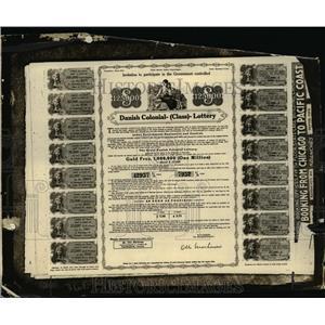 1925 Press Photo Danish Lottery ticket on display in NY