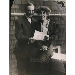 1914 Press Photo Benjamin R Bell & wife former Mrs Laura Van Slyke