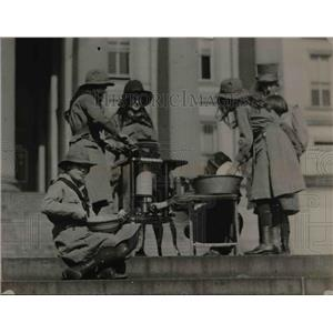 1920 Press Photo Girl Scouts at Treasury Building in Wash DC