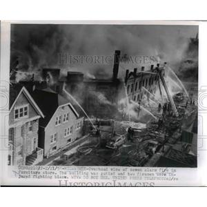 1955 Press Photo Seven Alarm Fire in Furniture Store in Milwaukee