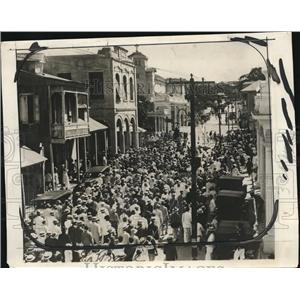 1929 Press Photo Port Au Prince Hait & crowds in the streets