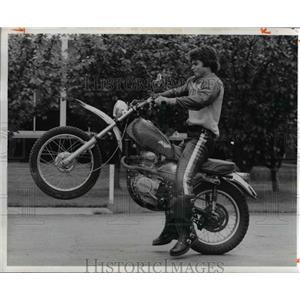 1974 Press Photo Motorcyclist Doing Wheelie Trick
