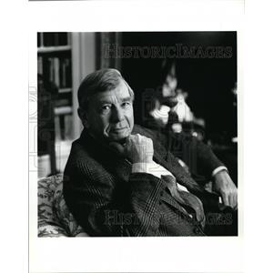 1993 Press Photo Russell Baker, host of Masterpiece Theater from Mobil Corp.