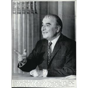 1972 Wire Photo French President Georges Pompidou at Palais de l'Elysee