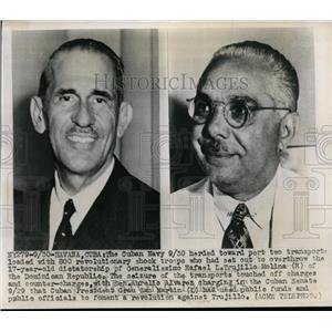 1947 Press Photo Generalismo Rafael L Trujillo and Sen Aurelio Alvarez