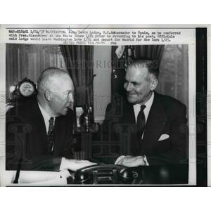 1957 Press Photo President Eisenhower, John David Lodge US Amb to Spain