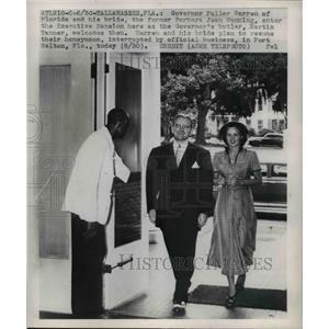 1949 Press Photo Governor Fuller Warren of Florida & bride Barbara J Manning