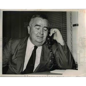 1962 Press Photo Representative Frank Smith on the phone in his office
