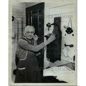1961 Press Photo Mrs Will Wheeler prefers her old time model phone. - ora92839