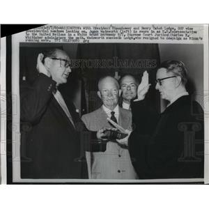 1960 Press Photo President Eisenhower And Henry Cabot Looking At James Wadsworth