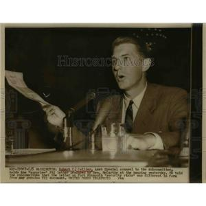 1954 Press Photo Robert C Collier Assistant Special counsel at Senate hearing