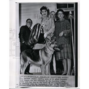 1962 Wire Photo Mrs. Barbara Powersposes with her dog as she waits  - cvw11402