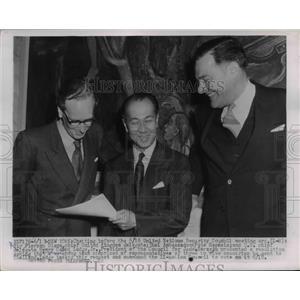 1954 Press Photo US Ambassador to UN Henry Cabot Lodge,UK's Sir Pierson Dixon