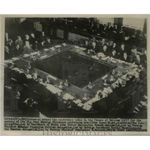 1955 Press Photo Geneva Switzerland Palace of Nations,JF Dulles of US