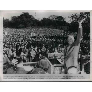 1952 Press Photo Presidential candidate Dwight Eisenhower in Boston Mass