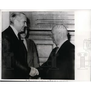 1963 Press Photo W.Averell Harriman greeted Soviet Premier Khurshchev