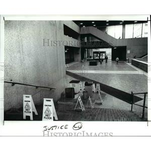 1989 Press Photo The containers and buckets used to catch rain coming in Atrium