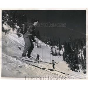 1948 Press Photo Shirley Kane Practices For Annual Banff Winter Carnival