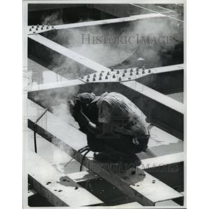 1963 Press Photo Welders on new dock in Santo Domingo Harbor, Dominican Republic