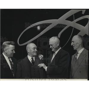 1950 Press Photo Peter Mecha, E.P. Allis, O.F. Pihl & Chris Snyder Honored