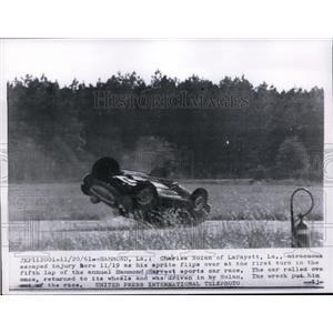 1961 Press Photo Charles Nolan flips car at Hammond Harvest sports car race