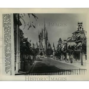 1971 Press Photo Main Street USA at Walt Disney World Magic Kingdom Theme Park