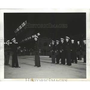 1942 Press Photo US Airship Patrol Squadron Commissioning at Moffett field, CA