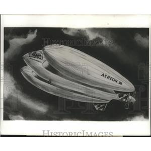 1962 Press Photo Artist Conception of Aereon II On Flight 3 Hulled Airship