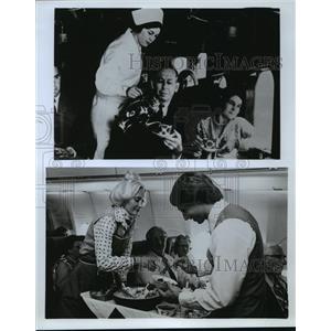 1977 Press Photo Compares original flight attendant uniforms and todays