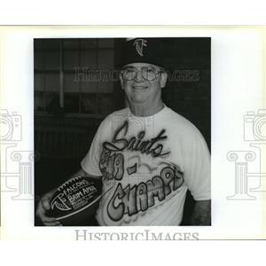 1992 Press Photo Robert Brim April Sr. Receives Game Ball from Atlanta Falcons