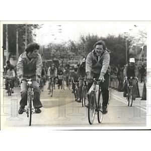 1981 Press Photo Bikers Pedal Grant Park American Cance- RSA06825