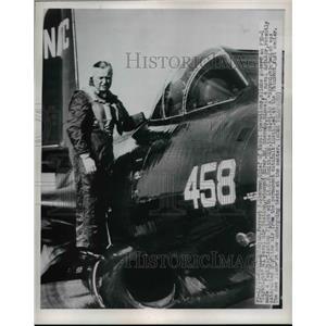 1950 Press Photo Adm Forrest Sherman Boards F3D-1 at Washington Naval Station