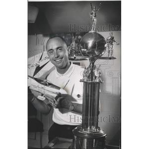 1963 Press Photo Bob Gialdini with Winning Model Airplane and Trophy, Milwaukee