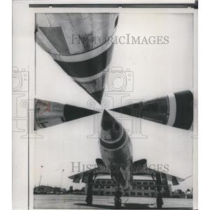 1959 Press Photo Supersonic Republic F-105 Thunderchiefs at Nellis force base