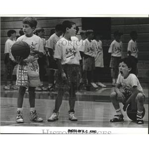 1991 Press Photo Kids of Seattle SuperSonics Jammin' Hoops basketball camp