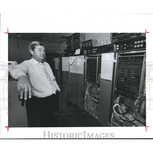 1989 Press Photo Jim Simon-Manager -FAA Tower-Computer Room Air Traffic Control