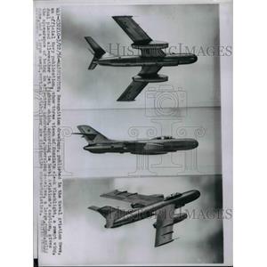 1956 Press Photo Drawings of Russian Flashlight Plane