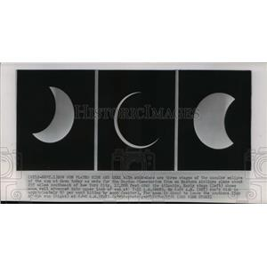 1951 Press Photo Three stages of the annular eclipse of the sun - cvw17396