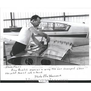 1986 Press Photo Airplane Wing Repair