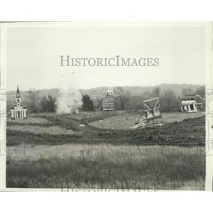 "1930 Press Photo ""Cardboard City"" Bombed 1500 Square Feet to Open Defense Plant"