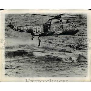 1965 Press Photo Swimmers jump from Sikorsky SH-3A helicopter to the sea