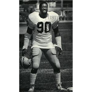 1984 Press Photo Ezra Johnson during practice at Green Bay Packers football camp