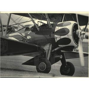 1985 Press Photo The Wagners in their Stearman biplane at the fly-in, Wisconsin