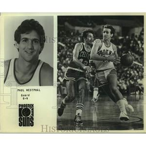 Press Photo Phoenix Suns Basketball Player Paul Westphal Plays Against Celtics